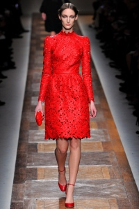 From the Valetino Fall 2012 RTW show. Cut leather flowers. I am absolutely IN LOVE with this dress.